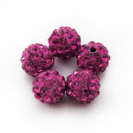 10mm Shamballa Beads - Fushia Pink
