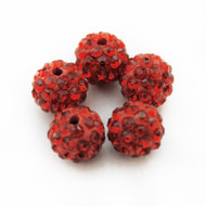 10mm Shamballa Beads - Light Siam
