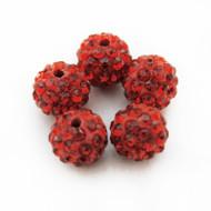 10mm Shamballa Beads - Light Siam