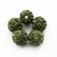 10mm Shamballa Beads - Olive Green