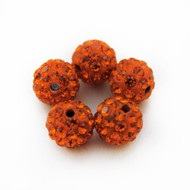 10mm Shamballa Beads - Sun Orange