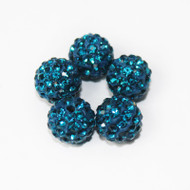 10mm Shamballa Beads - Teal Blue