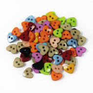 25 Tiny Heart Buttons Assorted Colours