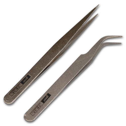 1 Pair of Pointed (Straight) &  1 Pair of Curved Tweezers