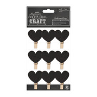 Chalkboard Heart Pegs 9pcs