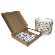 30cm Make Your Own Lampshade Kit - Example of Lampshade with Covering & Opened Box Contents