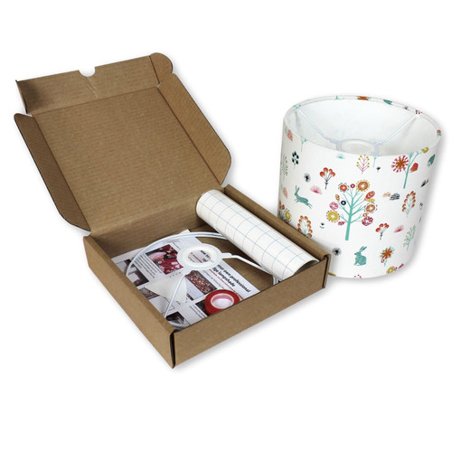 25cm Make Your Own Lampshade Kit - Example of Lampshade with Covering & Opened Box Contents