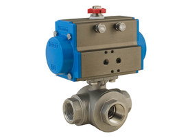 "1-1/2"" Bonomi 8P0144 - 3 Way, Stainlesss Steel, L-Port, Ball Valve with DA Actuator"