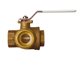 "1 1/4"" Bonomi 365N LF - 3 Way, Lead Free Brass, L-Port, FNPT, Direct Mount, Ball Valve"