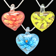 Handmade Glass Heart EP2 Stress Reducing Pendant - 3 Colors