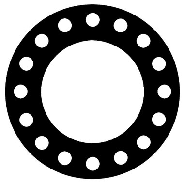 NSF-61 Certified EPDM, Full Face Gasket, Pipe Size: 10(10) Inches (25.4Cm), Thickness: 1/8(0.125) Inches (3.175mm), Pressure Tolerance: 300psi, Inner Diameter: 10 3/4(10.75)Inches (27.305Cm), Outer Diameter: 17 1/2(17.5)Inches (44.45Cm), With 16 - 1 1/8(1.125) (2.8575Cm) Bolt Holes, Part Number: CFF384-08.1000.125.300