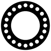 "7106 Neoprene Rubber 60 Durometer Full Face Gasket 24"" Pipe Size,  1/8"" Thick, Pressure Class 300# (Min Qty: 1)"
