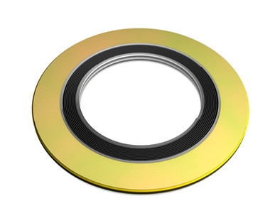 """316 Spiral Wound Gasket, 316LSS Windings & 316SS Inner Ring,  with Flexible Graphite Filler, For 1/2"""" Pipe, Pressure Tolerance, 150#, Green Band with Grey Stripes Part Number: 9000IR.500316GR150"""