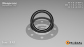 O-Ring, Black Neoprene Size: 212, Durometer: 70 Nominal Dimensions: Inner Diameter: 67/78(0.859) Inches (2.18186Cm), Outer Diameter: 1 10/73(1.137) Inches (2.88798Cm), Cross Section: 5/36(0.139) Inches (3.53mm) Part Number: OR70BLKNEO212