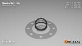 O-Ring, Black BUNA/NBR Nitrile Size: 014, Durometer: 90 Nominal Dimensions: Inner Diameter: 22/45(0.489) Inches (1.24206Cm), Outer Diameter: 39/62(0.629) Inches (1.59766Cm), Cross Section: 4/57(0.07) Inches (1.78mm) Part Number: OR90BLKBUN014