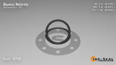 O-Ring, Black BUNA/NBR Nitrile Size: 018, Durometer: 90 Nominal Dimensions: Inner Diameter: 17/23(0.739) Inches (1.87706Cm), Outer Diameter: 29/33(0.879) Inches (2.23266Cm), Cross Section: 4/57(0.07) Inches (1.78mm) Part Number: OR90BLKBUN018