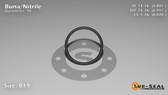 O-Ring, Black BUNA/NBR Nitrile Size: 019, Durometer: 90 Nominal Dimensions: Inner Diameter: 4/5(0.801) Inches (2.03454Cm), Outer Diameter: 16/17(0.941) Inches (2.39014Cm), Cross Section: 4/57(0.07) Inches (1.78mm) Part Number: OR90BLKBUN019