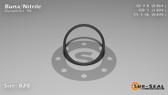 O-Ring, Black BUNA/NBR Nitrile Size: 020, Durometer: 90 Nominal Dimensions: Inner Diameter: 19/22(0.864) Inches (2.19456Cm), Outer Diameter: 1(1.004) Inches (2.55016Cm), Cross Section: 4/57(0.07) Inches (1.78mm) Part Number: OR90BLKBUN020