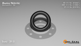 O-Ring, Black BUNA/NBR Nitrile Size: 313, Durometer: 90 Nominal Dimensions: Inner Diameter: 47/71(0.662) Inches (1.68148Cm), Outer Diameter: 1 5/61(1.082) Inches (2.74828Cm), Cross Section: 17/81(0.21) Inches (5.33mm) Part Number: OR90BLKBUN313