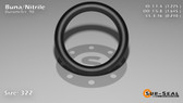O-Ring, Black BUNA/NBR Nitrile Size: 322, Durometer: 90 Nominal Dimensions: Inner Diameter: 1 9/40(1.225) Inches (3.1115Cm), Outer Diameter: 1 20/31(1.645) Inches (4.1783Cm), Cross Section: 17/81(0.21) Inches (5.33mm) Part Number: OR90BLKBUN322