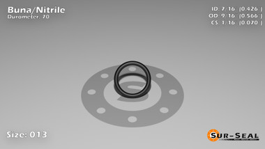 O-Ring, Black BUNA/NBR Nitrile Size: 013, Durometer: 70 Nominal Dimensions: Inner Diameter: 23/54(0.426) Inches (1.08204Cm), Outer Diameter: 30/53(0.566) Inches (1.43764Cm), Cross Section: 4/57(0.07) Inches (1.78mm) Part Number: ORBN013