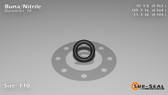 O-Ring, Black BUNA/NBR Nitrile Size: 110, Durometer: 70 Nominal Dimensions: Inner Diameter: 21/58(0.362) Inches (9.19mm), Outer Diameter: 46/81(0.568) Inches (1.44272Cm), Cross Section: 7/68(0.103) Inches (2.62mm) Part Number: ORBN110