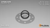 O-Ring, Black EPDM/EPR/Ethylene/Propylene Size: 015, Durometer: 70 Nominal Dimensions: Inner Diameter: 27/49(0.551) Inches (1.39954Cm), Outer Diameter: 38/55(0.691) Inches (1.75514Cm), Cross Section: 4/57(0.07) Inches (1.78mm) Part Number: OREPD015