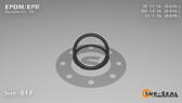 O-Ring, Black EPDM/EPR/Ethylene/Propylene Size: 017, Durometer: 70 Nominal Dimensions: Inner Diameter: 48/71(0.676) Inches (1.71704Cm), Outer Diameter: 31/38(0.816) Inches (2.07264Cm), Cross Section: 4/57(0.07) Inches (1.78mm) Part Number: OREPD017