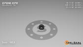 O-Ring, Black EPDM/EPR/Ethylene/Propylene Size: 103, Durometer: 70 Nominal Dimensions: Inner Diameter: 3/37(0.081) Inches (2.06mm), Outer Diameter: 2/7(0.287) Inches (0.287mm), Cross Section: 7/68(0.103) Inches (2.62mm) Part Number: OREPD103