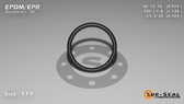 O-Ring, Black EPDM/EPR/Ethylene/Propylene Size: 119, Durometer: 70 Nominal Dimensions: Inner Diameter: 73/79(0.924) Inches (2.34696Cm), Outer Diameter: 1 10/77(1.13) Inches (2.8702Cm), Cross Section: 7/68(0.103) Inches (2.62mm) Part Number: OREPD119