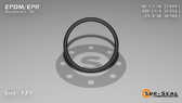 O-Ring, Black EPDM/EPR/Ethylene/Propylene Size: 121, Durometer: 70 Nominal Dimensions: Inner Diameter: 1 2/41(1.049) Inches (2.66446Cm), Outer Diameter: 1 13/51(1.255) Inches (3.1877Cm), Cross Section: 7/68(0.103) Inches (2.62mm) Part Number: OREPD121