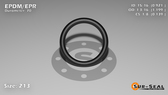 O-Ring, Black EPDM/EPR/Ethylene/Propylene Size: 213, Durometer: 70 Nominal Dimensions: Inner Diameter: 35/38(0.921) Inches (2.33934Cm), Outer Diameter: 1 1/5(1.199) Inches (3.04546Cm), Cross Section: 5/36(0.139) Inches (3.53mm) Part Number: OREPD213