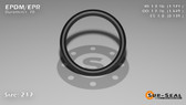 O-Ring, Black EPDM/EPR/Ethylene/Propylene Size: 217, Durometer: 70 Nominal Dimensions: Inner Diameter: 1 13/76(1.171) Inches (2.97434Cm), Outer Diameter: 1 22/49(1.449) Inches (3.68046Cm), Cross Section: 5/36(0.139) Inches (3.53mm) Part Number: OREPD217