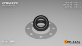 O-Ring, Black EPDM/EPR/Ethylene/Propylene Size: 309, Durometer: 70 Nominal Dimensions: Inner Diameter: 7/17(0.412) Inches (1.04648Cm), Outer Diameter: 5/6(0.832) Inches (2.11328Cm), Cross Section: 17/81(0.21) Inches (5.33mm) Part Number: OREPD309