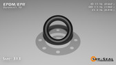 O-Ring, Black EPDM/EPR/Ethylene/Propylene Size: 313, Durometer: 70 Nominal Dimensions: Inner Diameter: 47/71(0.662) Inches (1.68148Cm), Outer Diameter: 1 5/61(1.082) Inches (2.74828Cm), Cross Section: 17/81(0.21) Inches (5.33mm) Part Number: OREPD313