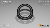 O-Ring, Black EPDM/EPR/Ethylene/Propylene Size: 317, Durometer: 70 Nominal Dimensions: Inner Diameter: 83/91(0.912) Inches (2.31648Cm), Outer Diameter: 1 1/3(1.332) Inches (3.38328Cm), Cross Section: 17/81(0.21) Inches (5.33mm) Part Number: OREPD317