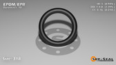 O-Ring, Black EPDM/EPR/Ethylene/Propylene Size: 318, Durometer: 70 Nominal Dimensions: Inner Diameter: 39/40(0.975) Inches (2.4765Cm), Outer Diameter: 1 32/81(1.395) Inches (3.5433Cm), Cross Section: 17/81(0.21) Inches (5.33mm) Part Number: OREPD318