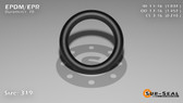 O-Ring, Black EPDM/EPR/Ethylene/Propylene Size: 319, Durometer: 70 Nominal Dimensions: Inner Diameter: 1 1/27(1.037) Inches (2.63398Cm), Outer Diameter: 1 16/35(1.457) Inches (3.70078Cm), Cross Section: 17/81(0.21) Inches (5.33mm) Part Number: OREPD319