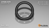 O-Ring, Black EPDM/EPR/Ethylene/Propylene Size: 321, Durometer: 70 Nominal Dimensions: Inner Diameter: 1 6/37(1.162) Inches (2.95148Cm), Outer Diameter: 1 39/67(1.582) Inches (4.01828Cm), Cross Section: 17/81(0.21) Inches (5.33mm) Part Number: OREPD321