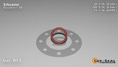 O-Ring, Orange Vinyl Methyl Silicone Size: 013, Durometer: 70 Nominal Dimensions: Inner Diameter: 23/54(0.426) Inches (1.08204Cm), Outer Diameter: 30/53(0.566) Inches (1.43764Cm), Cross Section: 4/57(0.07) Inches (1.78mm) Part Number: ORSIL013