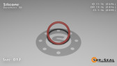 O-Ring, Orange Vinyl Methyl Silicone Size: 017, Durometer: 70 Nominal Dimensions: Inner Diameter: 48/71(0.676) Inches (1.71704Cm), Outer Diameter: 31/38(0.816) Inches (2.07264Cm), Cross Section: 4/57(0.07) Inches (1.78mm) Part Number: ORSIL017