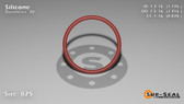 O-Ring, Orange Vinyl Methyl Silicone Size: 025, Durometer: 70 Nominal Dimensions: Inner Diameter: 1 3/17(1.176) Inches (2.98704Cm), Outer Diameter: 1 6/19(1.316) Inches (3.34264Cm), Cross Section: 4/57(0.07) Inches (1.78mm) Part Number: ORSIL025