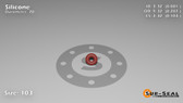 O-Ring, Orange Vinyl Methyl Silicone Size: 103, Durometer: 70 Nominal Dimensions: Inner Diameter: 3/37(0.081) Inches (2.06mm), Outer Diameter: 2/7(0.287) Inches (0.287mm), Cross Section: 7/68(0.103) Inches (2.62mm) Part Number: ORSIL103
