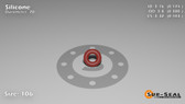O-Ring, Orange Vinyl Methyl Silicone Size: 106, Durometer: 70 Nominal Dimensions: Inner Diameter: 4/23(0.174) Inches (4.42mm), Outer Diameter: 19/50(0.38) Inches (0.38mm), Cross Section: 7/68(0.103) Inches (2.62mm) Part Number: ORSIL106