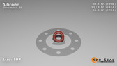 O-Ring, Orange Vinyl Methyl Silicone Size: 107, Durometer: 70 Nominal Dimensions: Inner Diameter: 7/34(0.206) Inches (5.23mm), Outer Diameter: 7/17(0.412) Inches (1.04648Cm), Cross Section: 7/68(0.103) Inches (2.62mm) Part Number: ORSIL107
