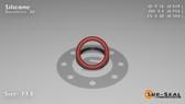 O-Ring, Orange Vinyl Methyl Silicone Size: 113, Durometer: 70 Nominal Dimensions: Inner Diameter: 28/51(0.549) Inches (1.39446Cm), Outer Diameter: 37/49(0.755) Inches (1.9177Cm), Cross Section: 7/68(0.103) Inches (2.62mm) Part Number: ORSIL113