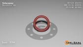 O-Ring, Orange Vinyl Methyl Silicone Size: 114, Durometer: 70 Nominal Dimensions: Inner Diameter: 41/67(0.612) Inches (1.55448Cm), Outer Diameter: 9/11(0.818) Inches (2.07772Cm), Cross Section: 7/68(0.103) Inches (2.62mm) Part Number: ORSIL114