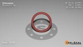 O-Ring, Orange Vinyl Methyl Silicone Size: 117, Durometer: 70 Nominal Dimensions: Inner Diameter: 4/5(0.799) Inches (2.02946Cm), Outer Diameter: 1(1.005) Inches (2.5527Cm), Cross Section: 7/68(0.103) Inches (2.62mm) Part Number: ORSIL117