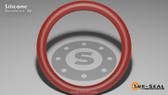 O-Ring, Orange Vinyl Methyl Silicone Size: 177, Durometer: 70 Nominal Dimensions: Inner Diameter: 9 19/39(9.487) Inches (24.09698Cm), Outer Diameter: 9 9/13(9.693) Inches (24.62022Cm), Cross Section: 7/68(0.103) Inches (2.62mm) Part Number: ORSIL177