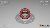 O-Ring, Orange Vinyl Methyl Silicone Size: 310, Durometer: 70 Nominal Dimensions: Inner Diameter: 19/40(0.475) Inches (1.2065Cm), Outer Diameter: 17/19(0.895) Inches (2.2733Cm), Cross Section: 17/81(0.21) Inches (5.33mm) Part Number: ORSIL310